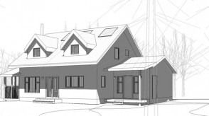 Green architectural home drawing