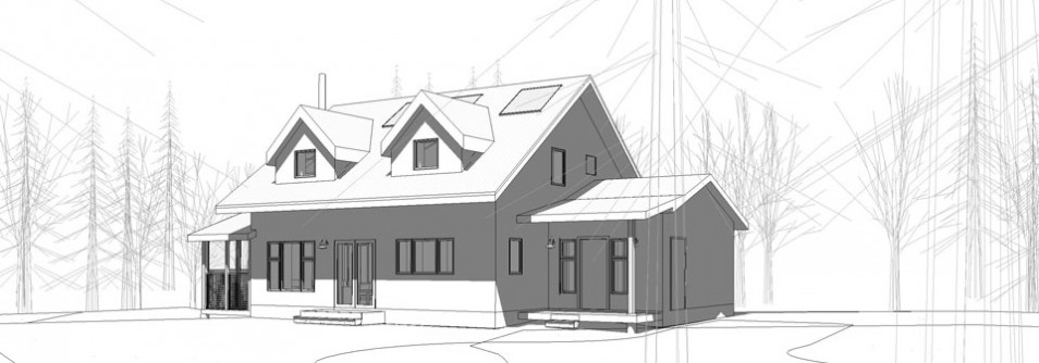 Green Architectural Home Drawing ...