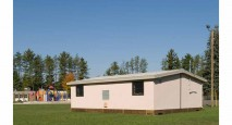 Exterior photo of Rockwood straw bale portable classroom
